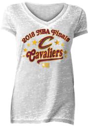 Cleveland Cavaliers Womens White Finals Burnout Short Sleeve T-Shirt