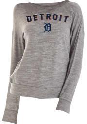 Detroit Tigers Womens Grey Tri-Blend Space Dye Knit Crew Sweatshirt
