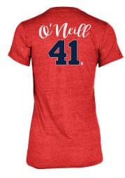 St Louis Cardinals Womens Red Player Script Short Sleeve T-Shirt