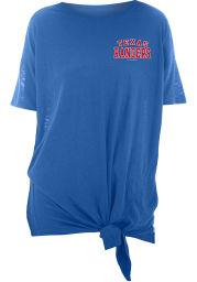 Texas Rangers Womens Blue Slub Side Tie Short Sleeve T-Shirt