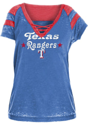 Texas Rangers Womens Blue Washes Lace Up Burnout Short Sleeve T-Shirt