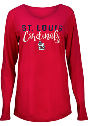 St Louis Cardinals Womens Red Timeless Taylor LS Tee