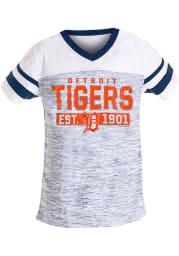 Detroit Tigers Girls Navy Blue Space Dye Short Sleeve Fashion T-Shirt