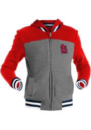 St Louis Cardinals Girls Grey Track Star Long Sleeve Full Zip Jacket