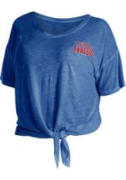 Texas Rangers Womens Blue Plus Side Tie Short Sleeve T-Shirt