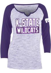 K-State Wildcats Womens Purple Novelty Space Dye Raglan LS Tee