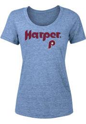 Bryce Harper Philadelphia Phillies Womens Light Blue Cooperstown Triblend Player T-Shirt