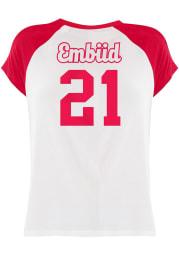 Joel Embiid Philadelphia 76ers Womens White Rayon Raglan Crew Player T-Shirt