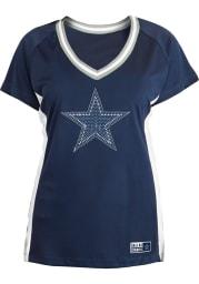 Dallas Cowboys Womens New Era Bling Fashion Football Jersey - Navy Blue