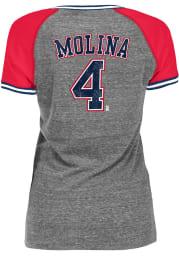 Yadier Molina St Louis Cardinals Womens Grey Tri-Blend Stripe Raglan V Player T-Shirt