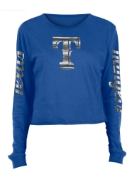 Texas Rangers Womens Blue Athletic Foil Crop Crew LS Tee