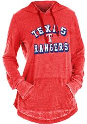 Texas Rangers Womens Red Burnout Wash Hooded Sweatshirt