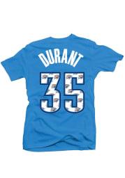 Kevin Durant Oklahoma City Thunder Womens Blue Repeating Logo Player T-Shirt