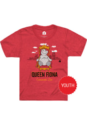 Fiona the Hippo Youth Heather Red Queen Throne Short Sleeve T-Shirt