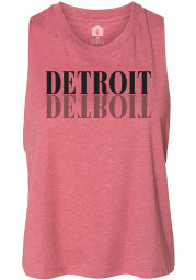 Detroit Women's Mauve Mirror Wordmark Cropped Racerback Tank Top