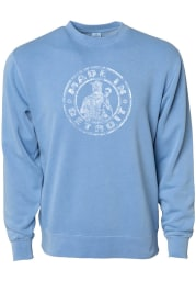 Made In Detroit Detroit Mens Light Blue Circle Icon Made in Long Sleeve Crew Sweatshirt