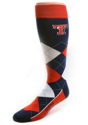 Texas Rangers Calf Logo Mens Argyle Socks