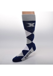 Xavier Musketeers Calf Logo Mens Argyle Socks