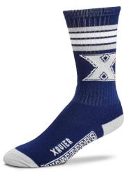 Xavier Musketeers Navy Blue 4 Stripe Deuce Youth Crew Socks