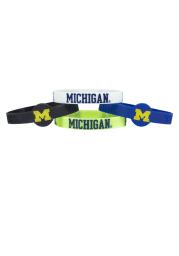 Michigan Wolverines 4pk Silicone Emblem Kids Bracelet