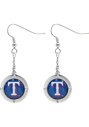 Texas Rangers Round Crystal Dangler Womens Earrings