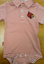 Louisville Cardinals Baby Red Carson Short Sleeve Polo One Piece