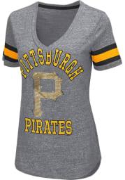 Pittsburgh Pirates Womens Grey Triple Play V-Neck
