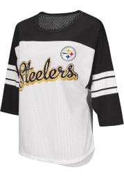 Pittsburgh Steelers Womens White First Team Mesh LS Tee