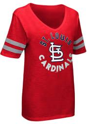 St Louis Cardinals Womens Red Triple Play Short Sleeve T-Shirt