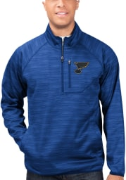 St Louis Blues Mens Blue Power Play Long Sleeve 1/4 Zip Pullover