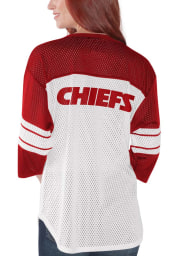 Kansas City Chiefs Womens White First Team Mesh LS Tee
