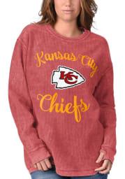Kansas City Chiefs Womens Red Julie Comfy Cord Crew Sweatshirt