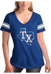 Texas Rangers Womens Blue First Pick Short Sleeve T-Shirt