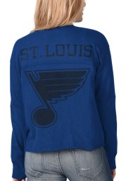 St Louis Blues Womens Blue Fight Song Cropped Crew LS Tee