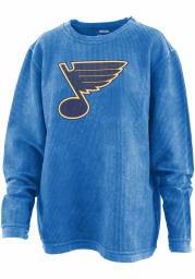 St Louis Blues Womens Blue Cozy Cord Crew Sweatshirt