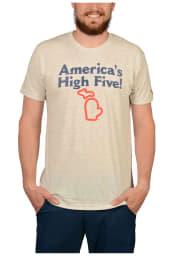 The Mitten State Michigan Oatmeal High Five Short Sleeve T Shirt