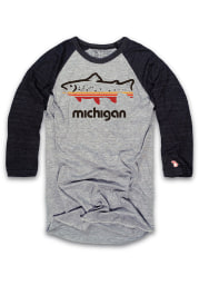 The Mitten State Michigan Grey Outdoors Long Sleeve Short Sleeve T Shirt