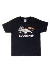 Wizard of Oz Youth Black Airplane Flying Monkey Short Sleeve T Shirt