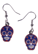 Texas Rangers Womens Sugar Skull Dangle Earrings - Blue
