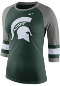 Nike Michigan State Spartans Womens Stipe Sleeve Raglan Green T-Shirt