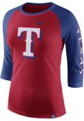 Nike Texas Rangers Womens TRI 3/4 Raglan Red T-Shirt