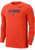 Illinois Fighting Illini Nike DriFIT Lockup T Shirt - Orange
