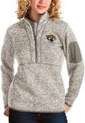 Jacksonville Jaguars Womens Antigua Fortune 1/4 Zip Pullover - Oatmeal