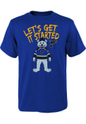 Louie St Louis Blues Youth Outer Stuff Lets Get It Started T-Shirt - Blue