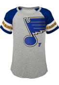 St Louis Blues Girls Shot on Goal Fashion T-Shirt - Grey