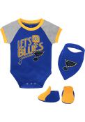 St Louis Blues Baby Lets Go Team One Piece with Bib - Blue