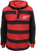 Detroit Red Wings Kids Black Striped Rugby Hooded Sweatshirt