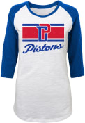 Detroit Pistons Junior Fit Raglan Slub White T-Shirt