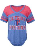 Detroit Pistons Juniors Blue Vintage V-Neck