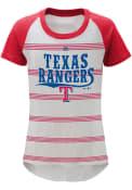 Texas Rangers Girls White Pin Stripes T-Shirt